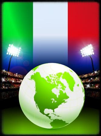 Italy Flag with Globe on Stadium Background Original Illustration illustration