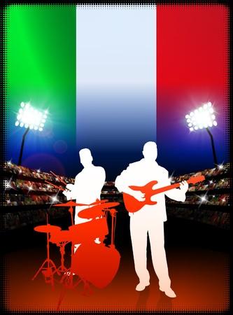 Live Music Band with Italy Flag on Stadium Background Original Illustration illustration