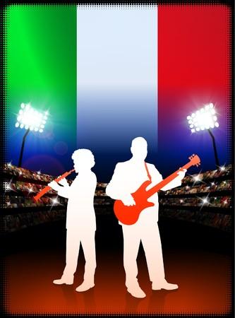 스타디움 배경에 이탈리아 국기와 라이브 음악 밴드 원래 그림 스톡 콘텐츠