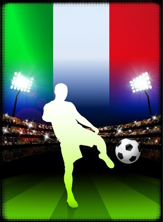 Italy Soccer Player with Flag on Stadium Background