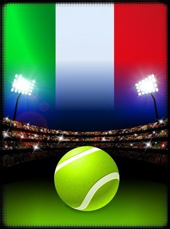 Italy Flag and Tennis Ball on Stadium Background Original Illustration