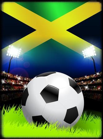 Jamaica Flag and Ball on Stadium Background Original Illustration illustration