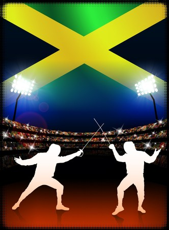 jamaican: Jamaican Fencing on Stadium Background Original Illustration
