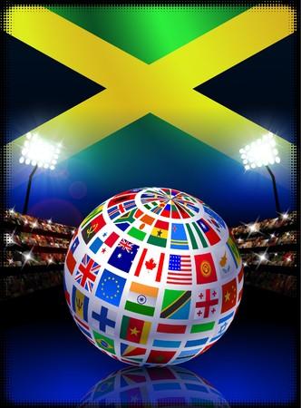 Jamaica Flag Globe on Stadium Background Original Illustration illustration