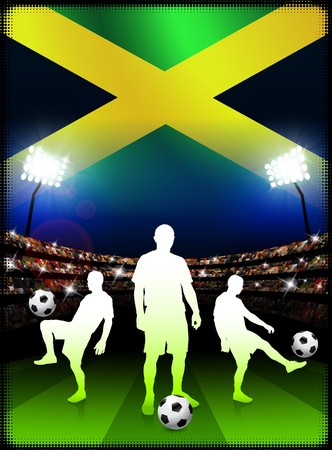 Jamaican Soccer Player with Flag on Stadium Background