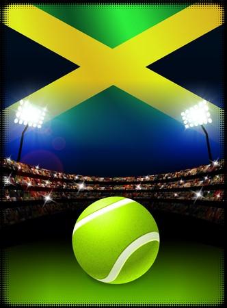 ジャマイカの旗、スタジアムの背景にテニス ・ ボール オリジナル イラスト