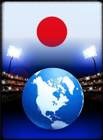 Japan Flag with Globe on Stadium BackgroundOriginal Illustration Stock Illustration - 7265135