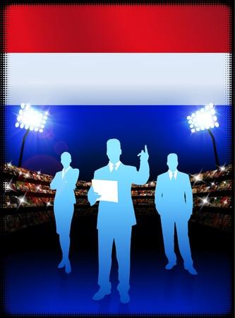 Nederlands Commercieel Team op Stadion Originele Illustratie als achtergrond Stockfoto