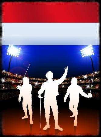 Netherlands Fencing on Stadium Background Original Illustration