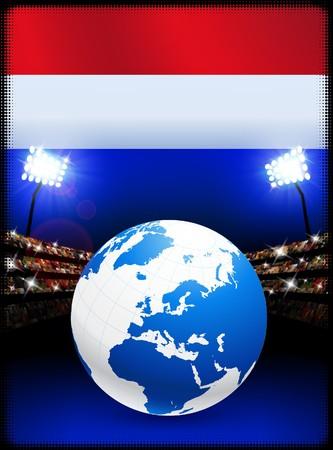 Bandera de los Países Bajos con globo sobre fondo de estadio Ilustración original  Foto de archivo - 7264946