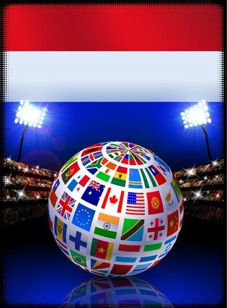 Netherlands Flag Globe on Stadium Background Original Illustration illustration