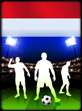 Nederlandse voet bal speler met vlag op de achtergrond van het stadion Originele illustratie