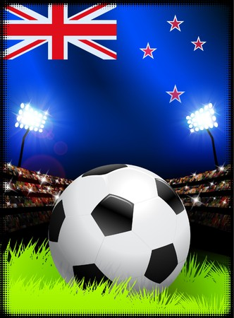 new zealand flag: New Zealand Flag and Ball on Stadium Background Original Illustration Stock Photo