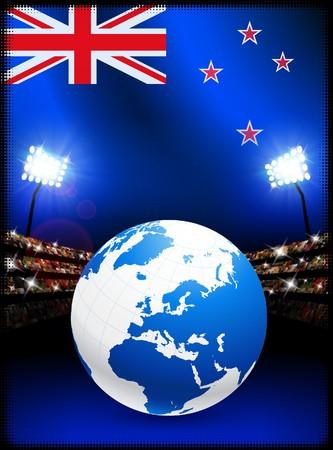 New Zealand Flag with Globe on Stadium Background Original Illustration illustration