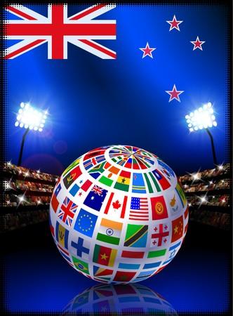 New Zealand Flag Globe on Stadium Background Original Illustration illustration