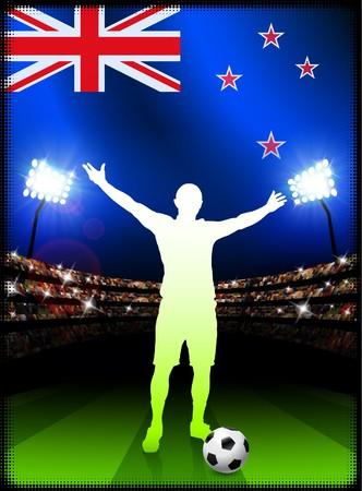 New Zealand Soccer Player with Flag on Stadium BackgroundOriginal Illustration Banco de Imagens