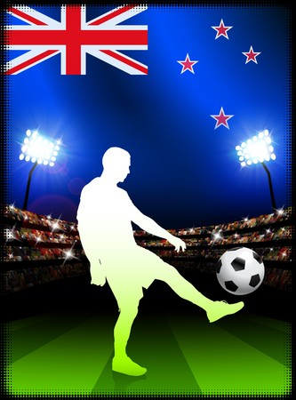 New Zealand Soccer Player with Flag on Stadium Background