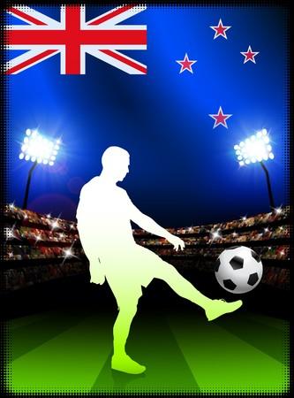 New Zealand Soccer Player with Flag on Stadium BackgroundOriginal Illustration Stock Illustration - 7264970