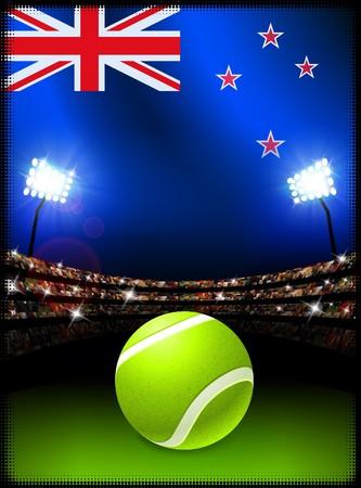 ニュージーランドの国旗とスタジアムの背景にテニス ボール オリジナル イラスト 写真素材