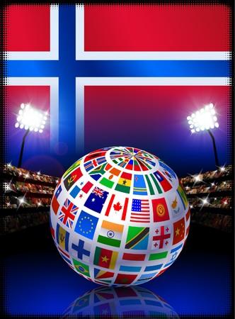 norway flag: Norway Flag Globe on Stadium Background Original Illustration