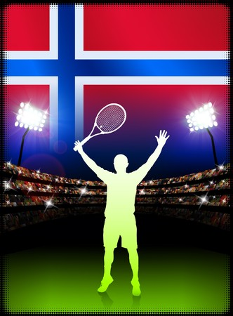 norway flag: Norway Flag and Tennis Player on Stadium Background Original Illustration