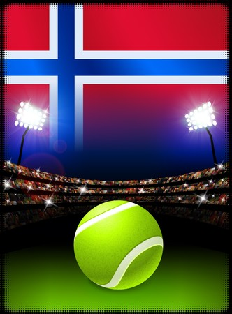 norway flag: Norway Flag and Tennis Ball on Stadium Background Original Illustration