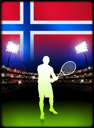 cross match: Norway Flag and Tennis Player on Stadium Background Original Illustration
