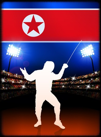 North Korea Fencing on Stadium Background Original Illustration illustration