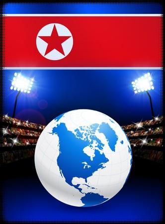 North Korea Flag with Globe on Stadium Background Original Illustration Stok Fotoğraf
