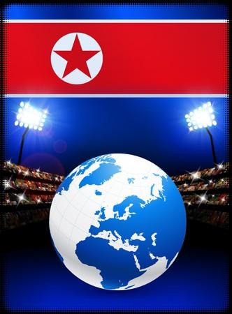 North Korea Flag with Globe on Stadium Background Original Illustration illustration