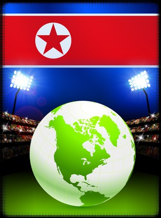 North Korea Flag with Globe on Stadium Background Original Illustration illustration