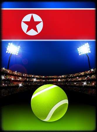 North Korea Flag and Tennis Ball on Stadium Background Original Illustration