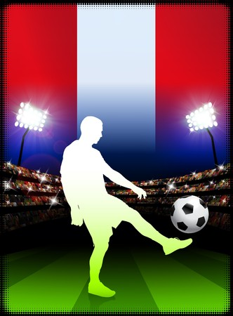 Peru Soccer Player with Flag on Stadium Background