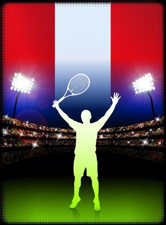 racket stadium: Peru Flag and Tennis Player on Stadium Background Original Illustration