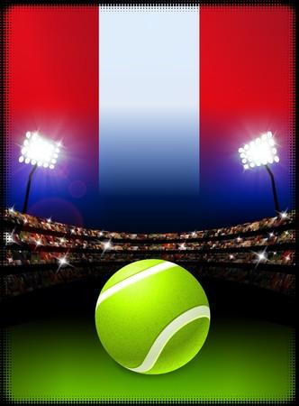 ペルーの旗、スタジアムの背景にテニス ・ ボール オリジナル イラスト