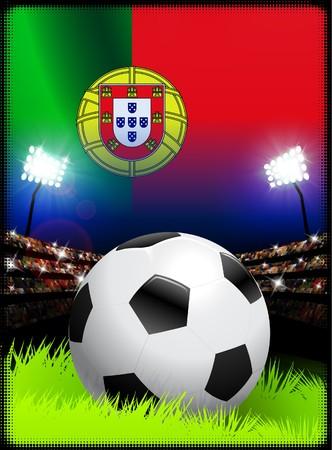 Portugal Flag and Ball on Stadium Background Original Illustration