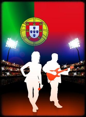 Live Music Band with Portugal Flag on Stadium Background Original Illustration
