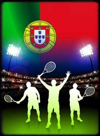 racket stadium: Portugal Flag and Tennis Player on Stadium Background Original Illustration