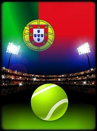 Portugal Flag and Tennis Ball on Stadium Background Original Illustration