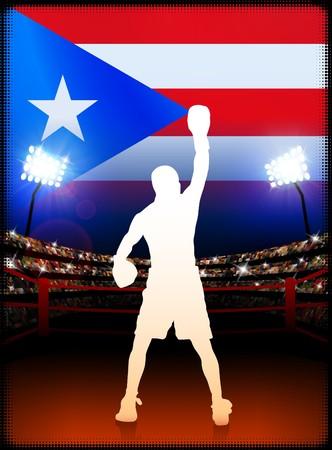 puerto rican flag: Puerto Rico Boxing on Stadium Background Original Illustration