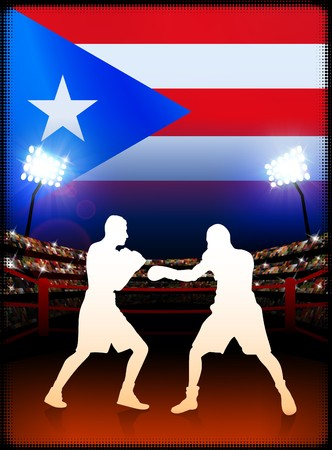 Puerto Rico Boxing on Stadium Background Original Illustration illustration