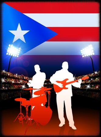 Live Music Band with Puerto Rico Flag on Stadium Background Original Illustration