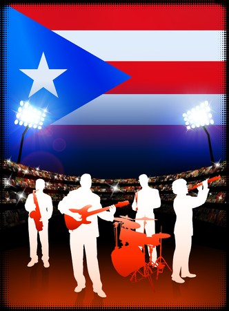Live Music Band with Puerto Rico Flag on Stadium Background Original Illustration illustration