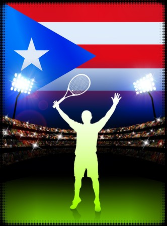 racket stadium: Puerto Rico Flag and Tennis Player on Stadium Background Original Illustration