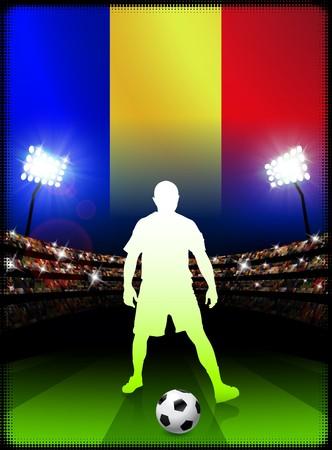Romania Soccer Player with Flag on Stadium BackgroundOriginal Illustration 스톡 콘텐츠