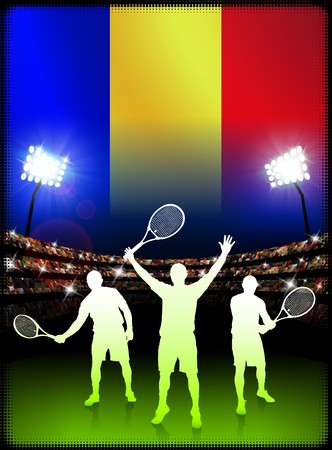 ルーマニアの国旗とスタジアムの背景にテニス プレーヤー オリジナル イラスト