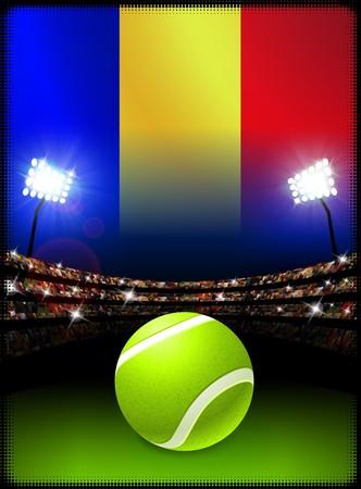 루마니아 플래그와 테니스 공을 경기장 배경에 원래 그림 스톡 콘텐츠