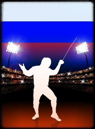 Russia Fencing on Stadium Background Original Illustration Imagens