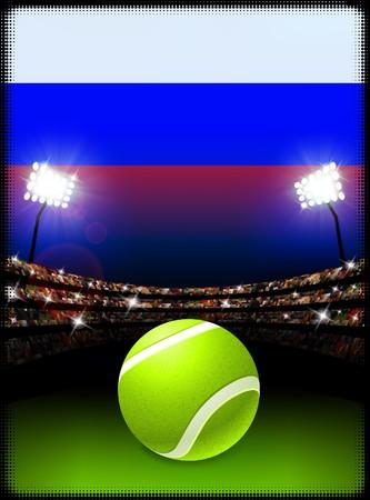 러시아 국기와 테니스 공 경기장 배경에 원래 그림