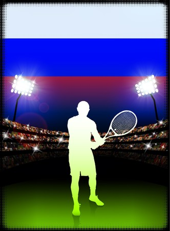 racket stadium: Russia Flag and Tennis Player on Stadium Background Original Illustration